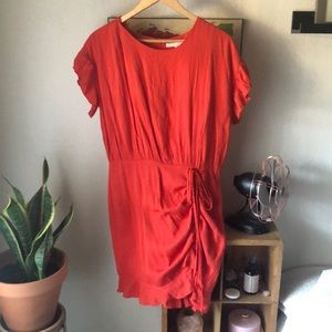Ruched Red Dress
